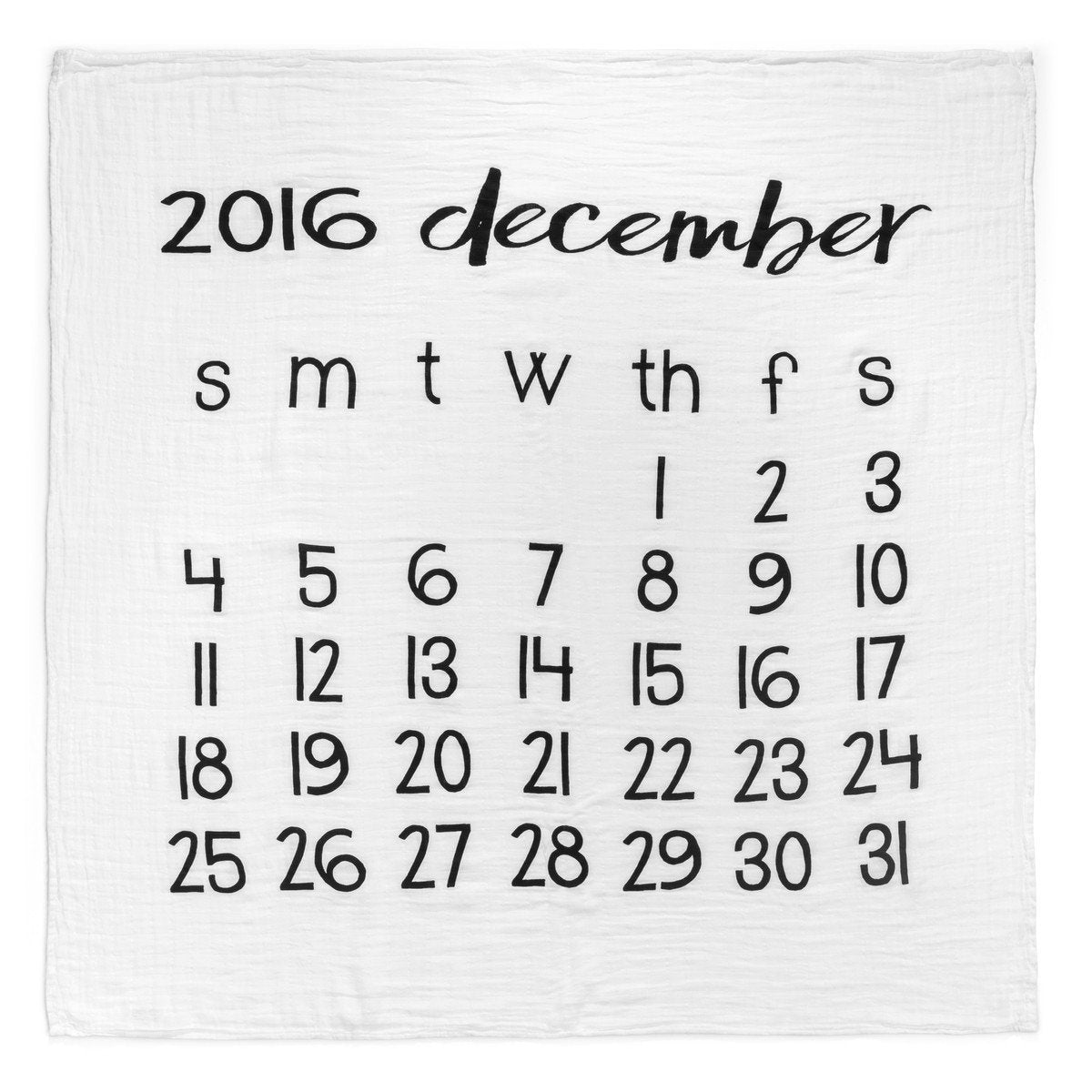 Organic Cotton Muslin Swaddle in Calendar Collection: December 2016