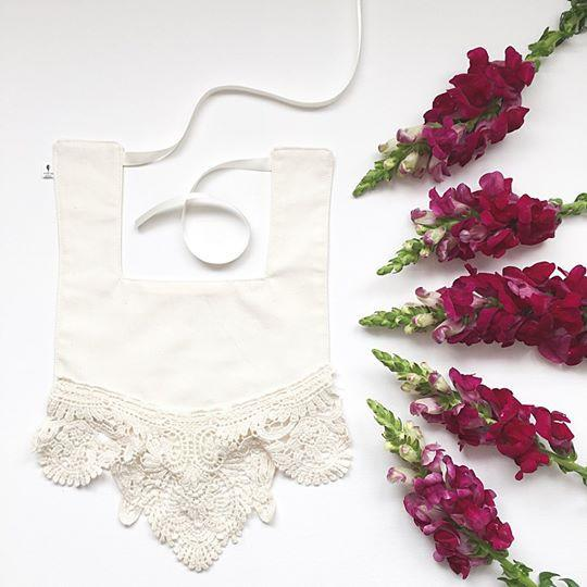 Cream and Cream Lace Luxe Bib