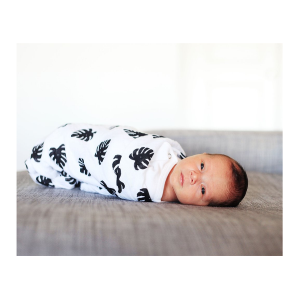 Organic Cotton Muslin Swaddle in Tropical Palm Leaves