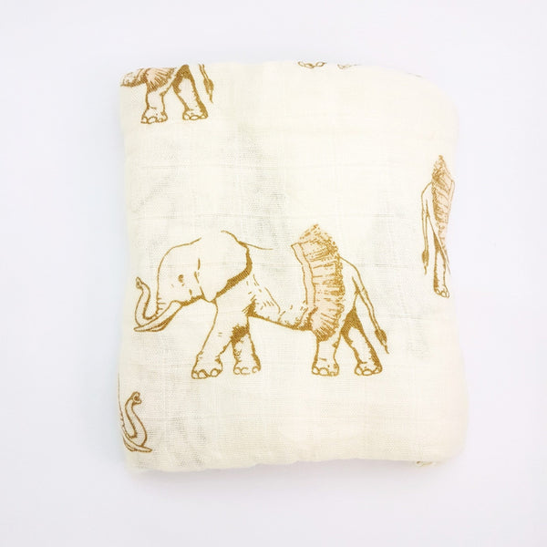 Bamboo + Cotton Muslin Swaddle in Tutu Elephant