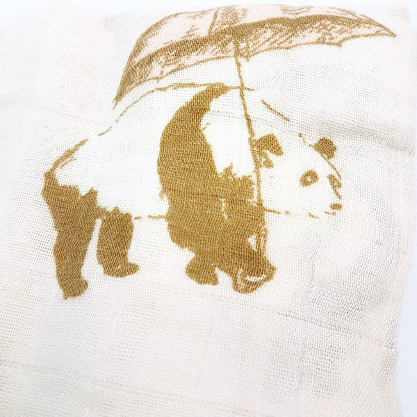 Bamboo + Cotton Muslin Swaddle in Umbrella Panda (Pink)
