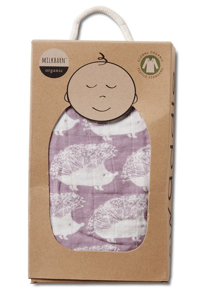 Organic Cotton Muslin Swaddle in Lavender Hedgehog