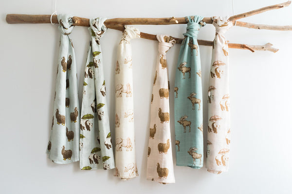Bamboo + Cotton Muslin Swaddle in Bow Tie Moose
