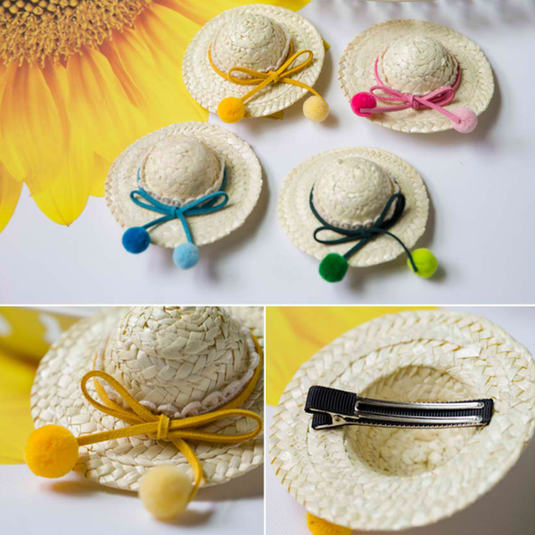 pompom ribbon knot hat hairclip (4 colours)