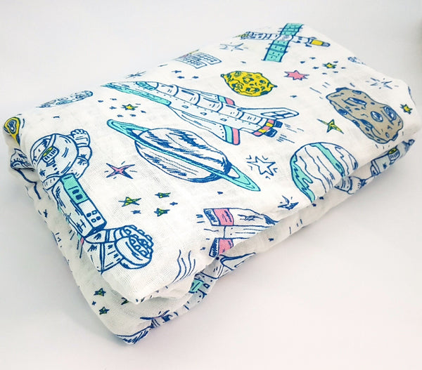 Organic Cotton Muslin Swaddle in Space