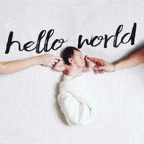 Organic Cotton Muslin Swaddle in Tapestry Collection: Hello World