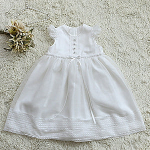 Iris White Long Christening Dress Set (dress + bonnet + bloomers)