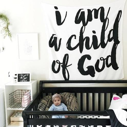 Organic Cotton Muslin Swaddle in Tapestry Collection: I Am a Child of God