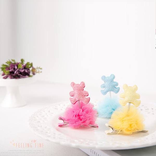 mini-spring with a shimmer bear (6 colours)