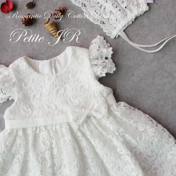 Lily White Long Christening Dress