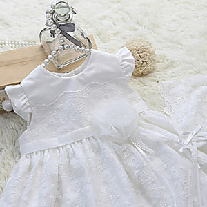 Serena White Long Christening Dress Set (dress + bonnet)
