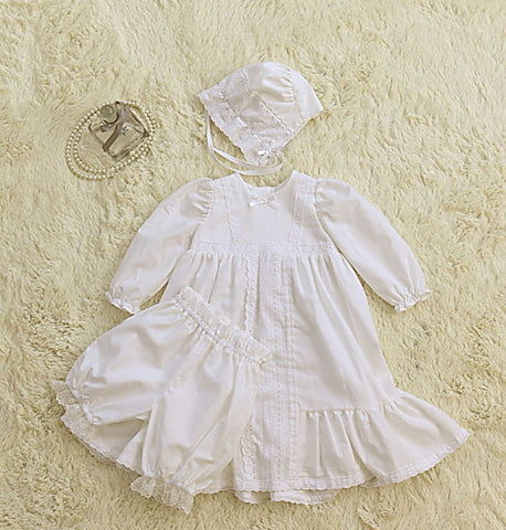 Marianna White Long Christening Dress Set (dress + bonnet + bloomers)