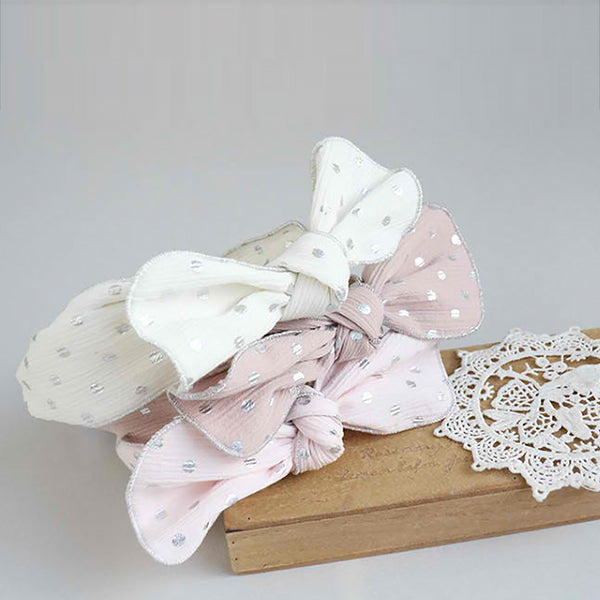 silver pearl dot ribbon baby band (3 colours)