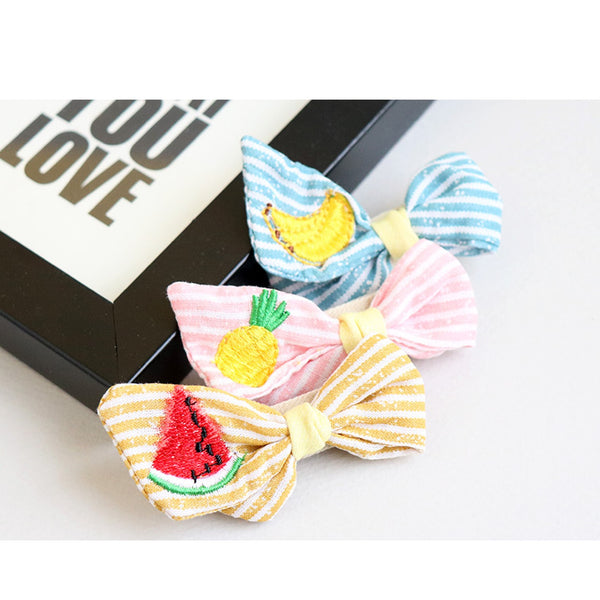 fruit stripe ribbon tongs non-slip pin (3 designs)