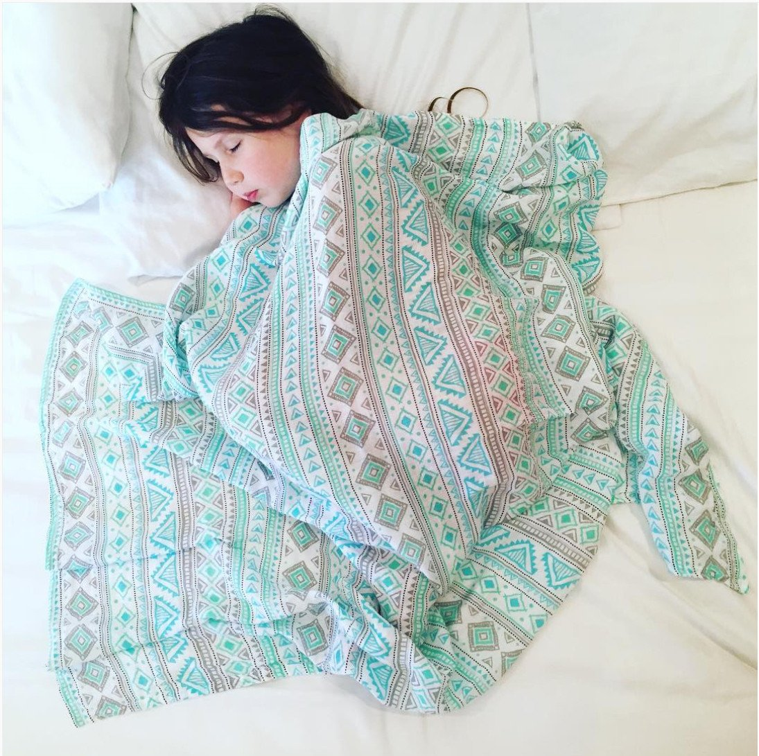 Organic Cotton Muslin Swaddle in Aztec