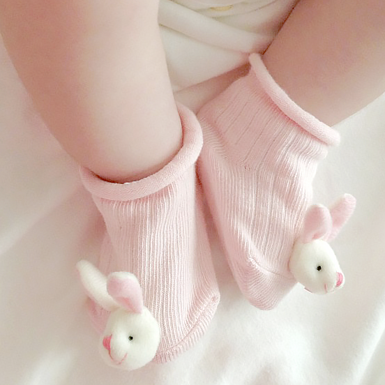 organic baby booties for newborn to 12 months - funny bunny