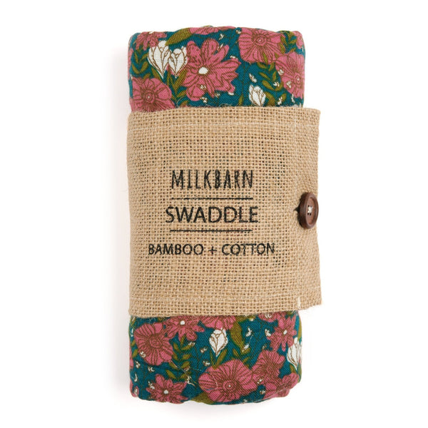 Bamboo + Cotton Muslin Swaddle in Teal Floral