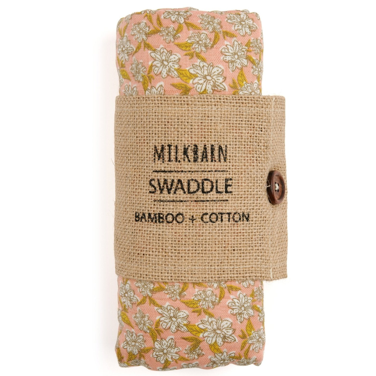 Bamboo + Cotton Muslin Swaddle in Rose Floral