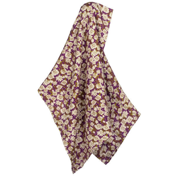 Bamboo + Cotton Muslin Swaddle in Purple Floral