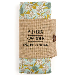 Bamboo + Cotton Muslin Swaddle in Blue Floral