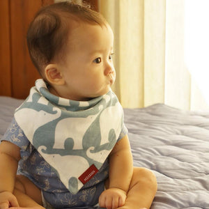 Organic Cotton Kerchief Bib in Blue Elephant