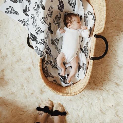 Organic Cotton Muslin Swaddle in Cactus