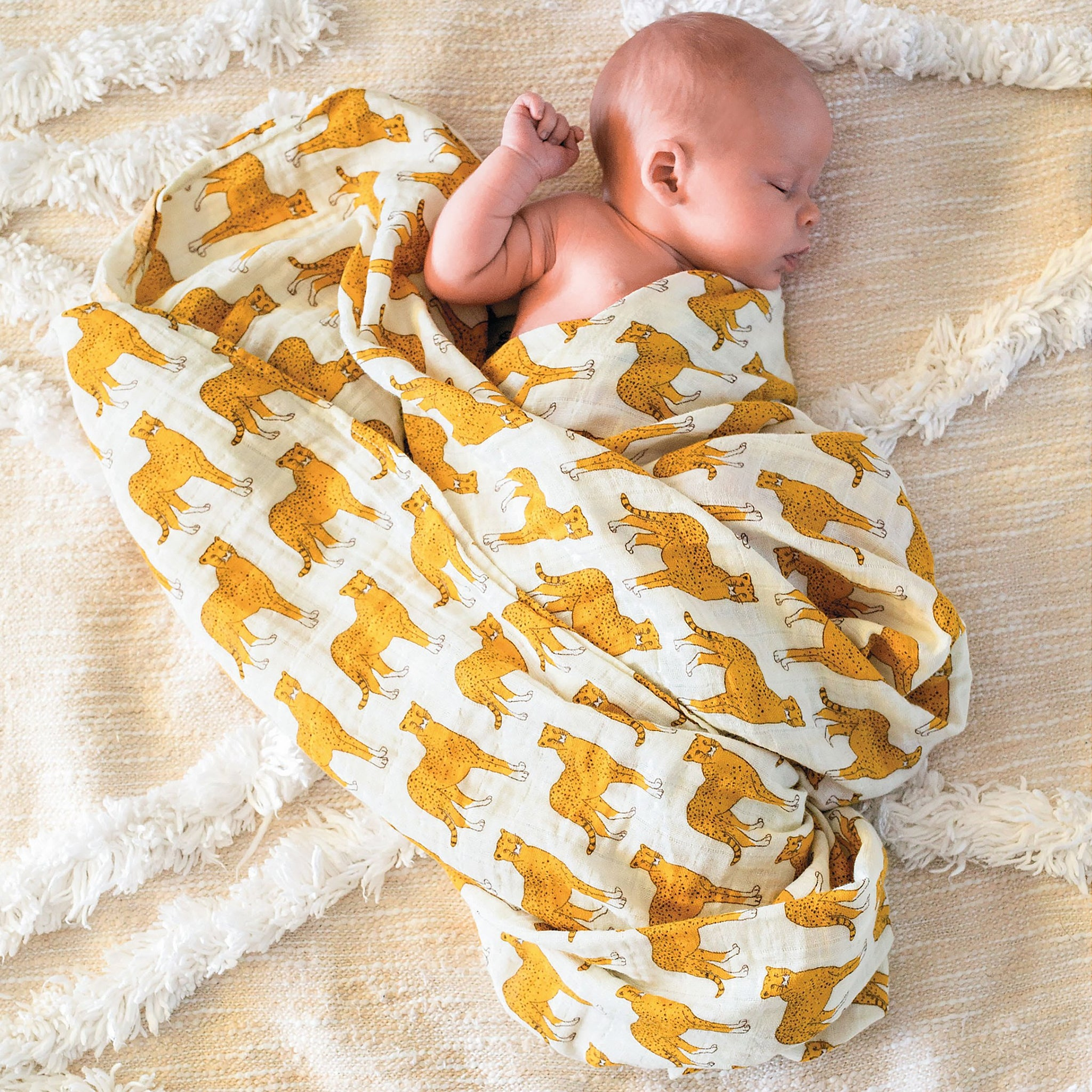 Organic Cotton Muslin Swaddle in Cheetah