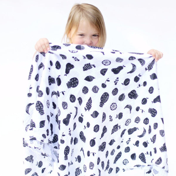Organic Cotton Muslin Swaddle in Fruit