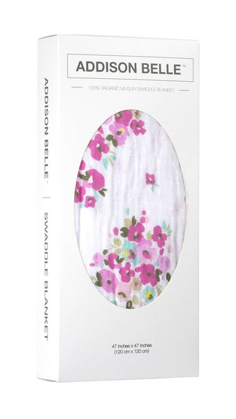 Organic Cotton Muslin Swaddle in Floral