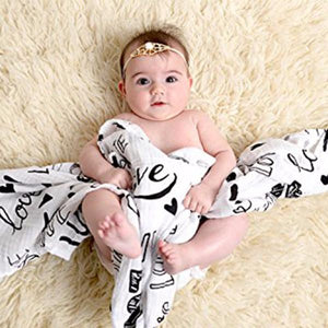 Organic Cotton Muslin Swaddle in Love