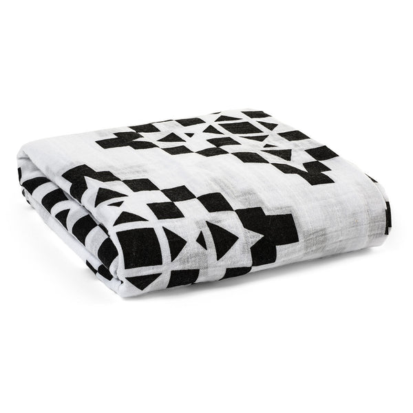 Organic Cotton Muslin Swaddle in Geo