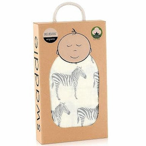 Organic Cotton Muslin Swaddle in Zebra