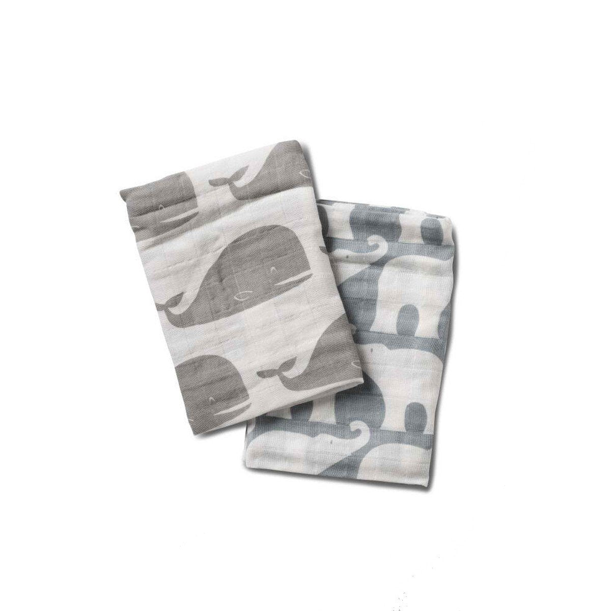 Organic Cotton Bundle of Burpies in Grey Whale + Blue Elephant