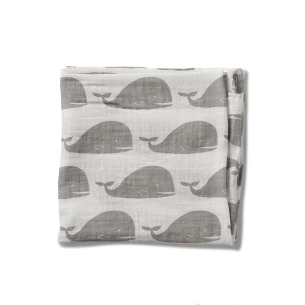 Organic Cotton Muslin Swaddle in Grey Whale