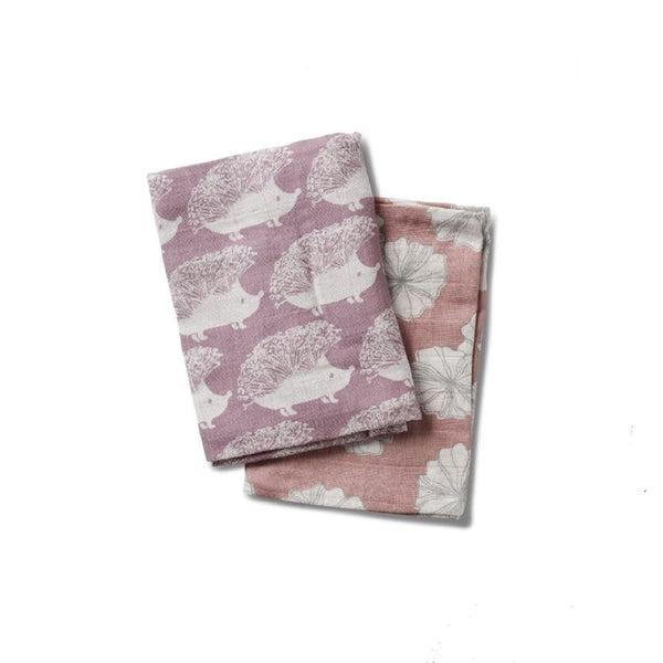 Organic Cotton Bundle of Burpies in Lavender Hedgehog + Rose Floral