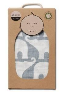 Organic Cotton Muslin Swaddle in Blue Elephant