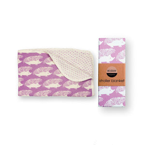 Organic Cotton Stroller Blanket in Lavender Hedgehog