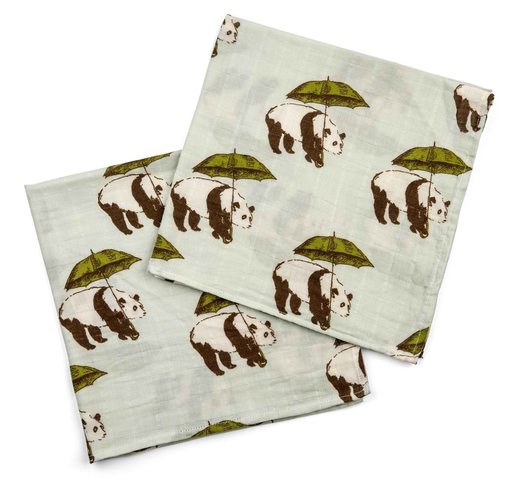 Bamboo + Cotton Bundle of Burpies in Umbrella Panda (green)