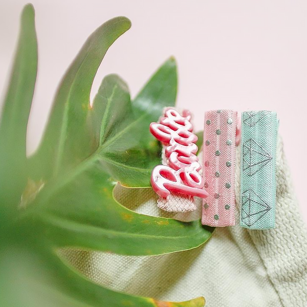 mint and pink clip set