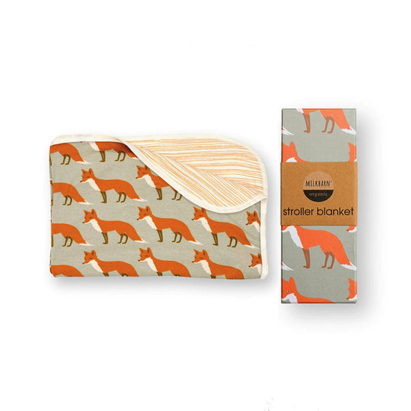 Organic Cotton Stroller Blanket in Orange Fox
