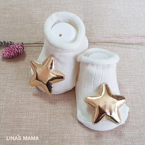 organic baby booties for newborn to 12 months - little star