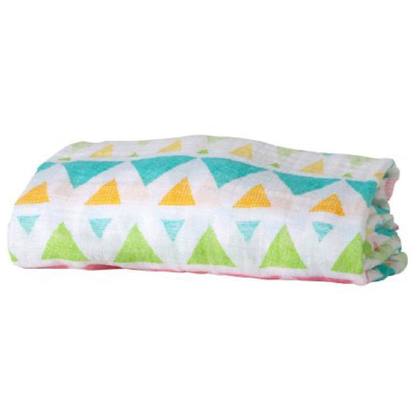 Organic Cotton Muslin Swaddle in Pastel Triangle