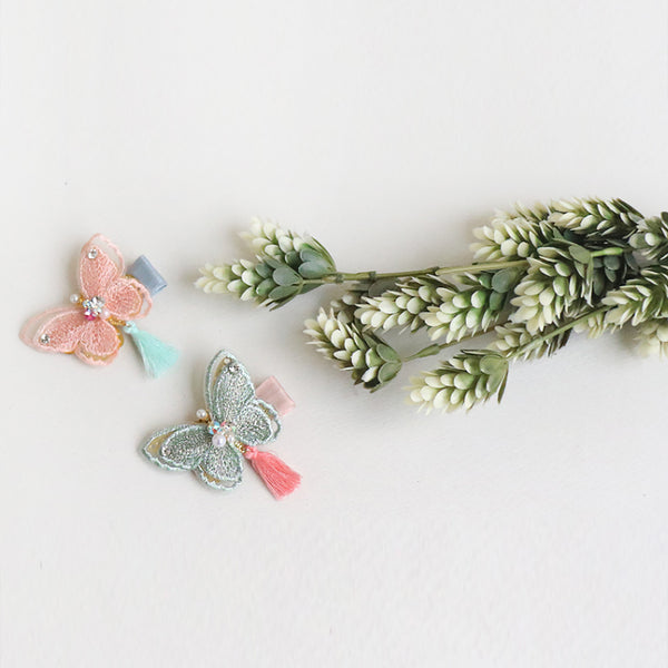 shiny embroidery butterfly tong