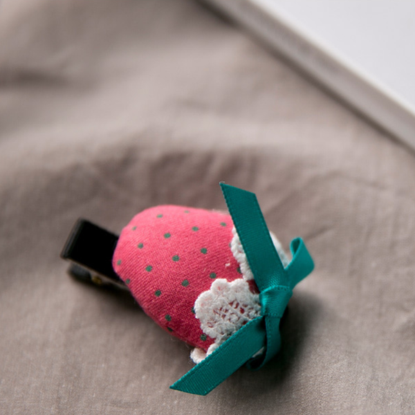 strawberry plush hair clip
