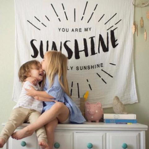 Organic Cotton Muslin Swaddle in Tapestry Collection: You Are My Sunshine
