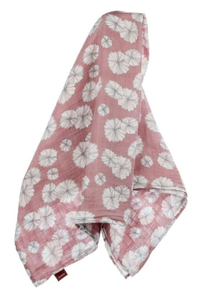 Organic Cotton Muslin Swaddle in Rose Floral