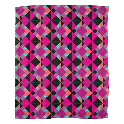 Plush Designer Tangrams in Pinks and Blank Fleece Blankets by Leah Quinn