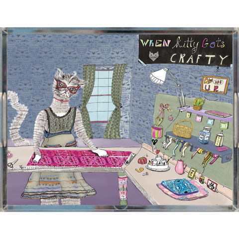 'When Kitty Gets Crafty' Acrylic Trays