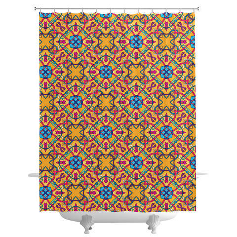 Golden Marrakech Shower Curtains by Leah Quinn Design