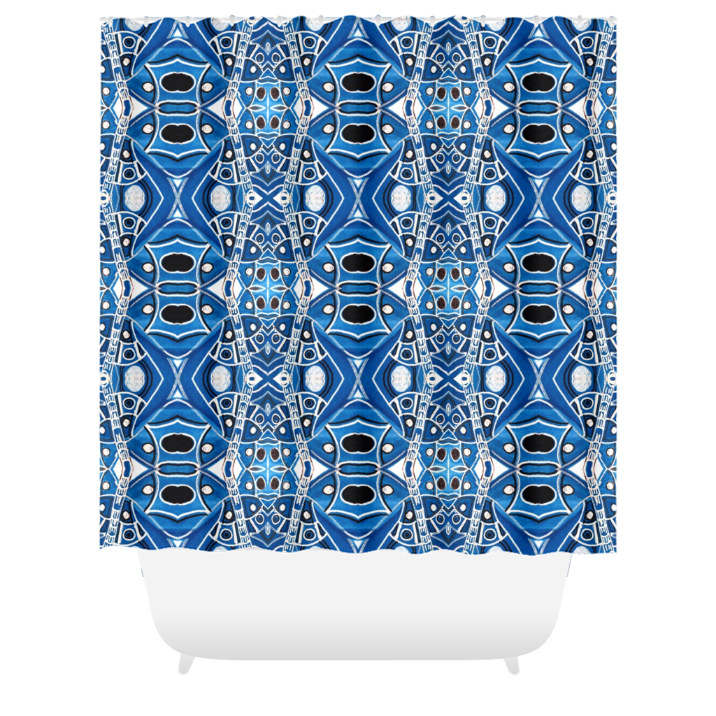 Tangled Up In Denim Shower Curtains By Leah Quinn Design